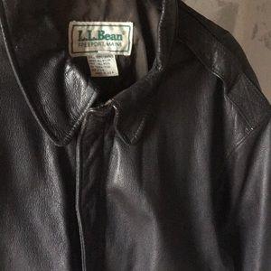 Vintage men's LL Bean leather bomber jacket.